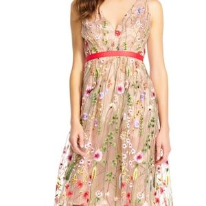 Adrianna Papell Boho Embroidered Fit Flare Dress