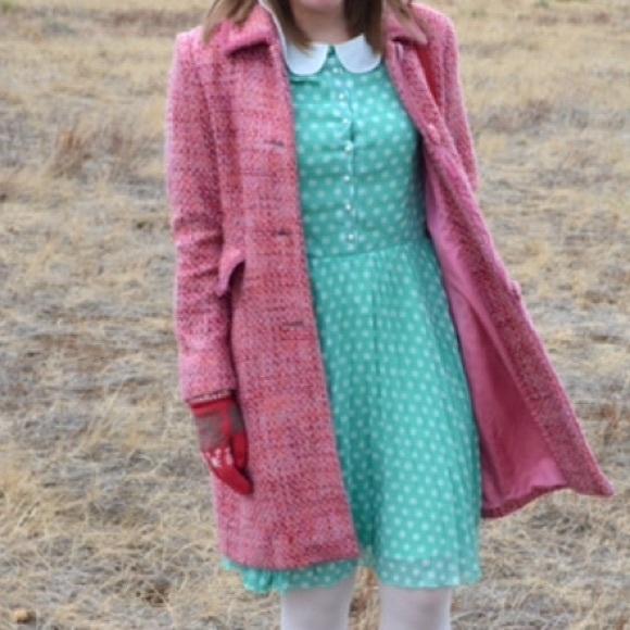 Nine West Jackets & Blazers - NINE WEST pink tweed velvet bow peacoat wool coat