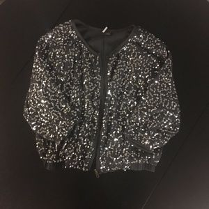 Sparkle & Fade Gray Sequin Zip-up Bomber Jacket