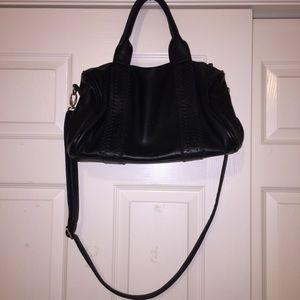 F21 black satchel bag