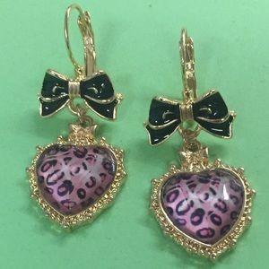 New Betsey Johnson leopard heart drop earrings