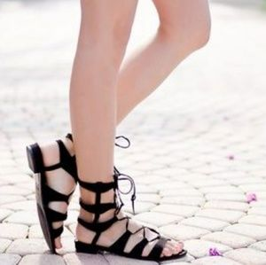 Black Gladiator Strappy Sandals