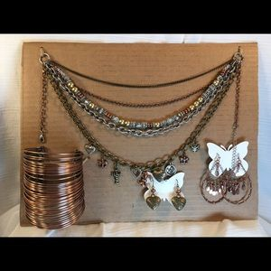 Jewelry - Multi Colored Necklace, Bracelet, &2 Pair Earrings