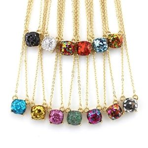 Jewelry - Gold Glitter Opal Square Necklace