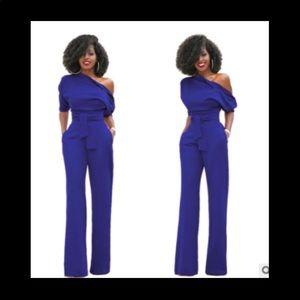 """Pants - """"Kandy"""" Belted Blue Jumpsuit -- S* M*L*"""