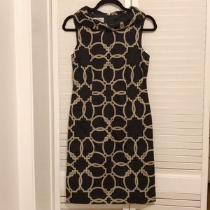 Talbots Black and Cream Patterned Dress