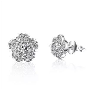 Italian Silver 925 Stamped Diamond Earrings