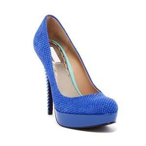 RACHEL ROY Cobalt Blue Snake Print Platform Heels