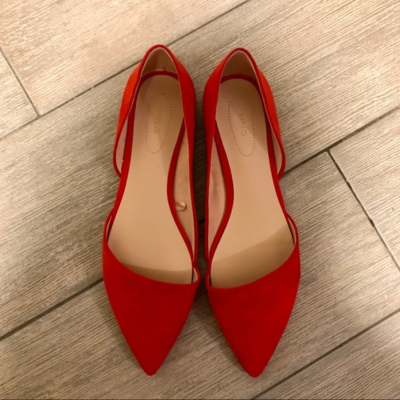 Nwot Mango Pointed Toe Red Flats Size 6