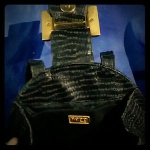 Vintage Rodo Black Python Skin Handbag
