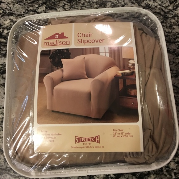 Pleasing Madison Chair Stretch Slip Cover Brown Beige New Nwt Spiritservingveterans Wood Chair Design Ideas Spiritservingveteransorg