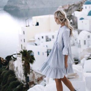 Cynthia Rowley Pintuck Ruffle Dress Blue White NWT