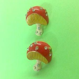 New Betsey Johnson mushroom stud earrings