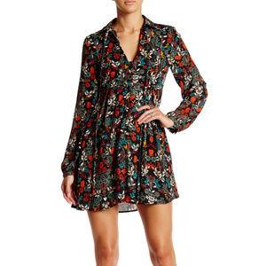 Long Sleeve Keyhole Floral Mini Dress
