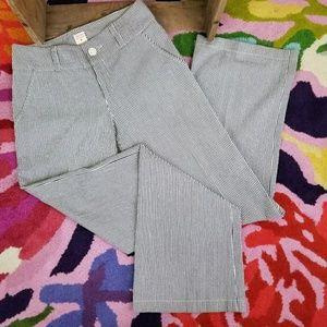 Lauren Moffatt blue white stripe trouser pants 4