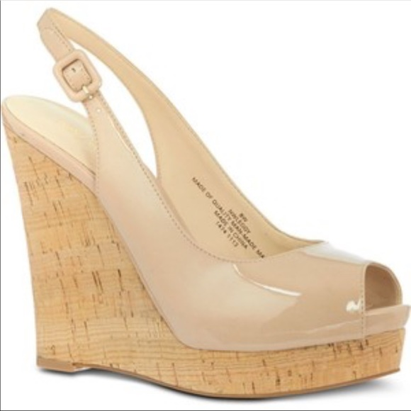 3db85a07649 ✔️Nine West Nude Patent Leather Peep Toe Wedge