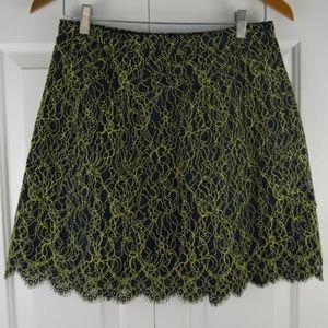 J. Crew Size 2 Lace Skirt Scalloped Hem Green Blue