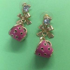 New Betsey Johnson pink tea coffee cup earrings