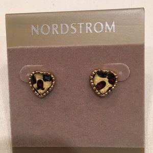 Betsey Johnson Leopard Heart Shaped Stud Earrings