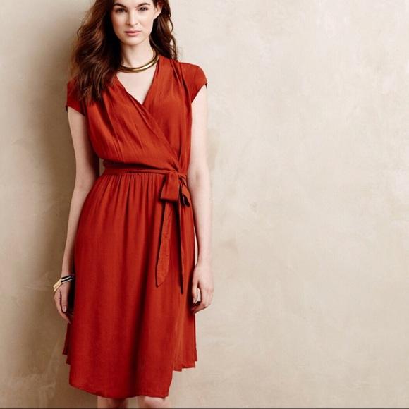 c083c51eaeca Anthropologie Dresses & Skirts - Anthropologie Maeve Noronha Dark Orange  Wrap Dress