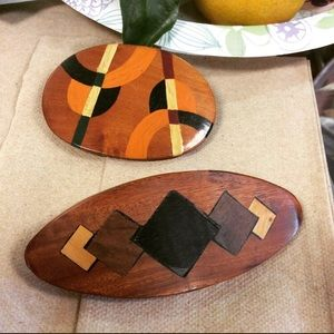 Wooden Hand-painted Carved Hair Clips Vintage
