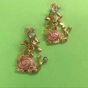 New Betsey Johnson pink snail drop earrings