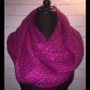 Magenta Knitted Infinity Scarf