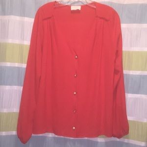 Everly - Red - Long Sleeve Blouse w/ Great Buttons