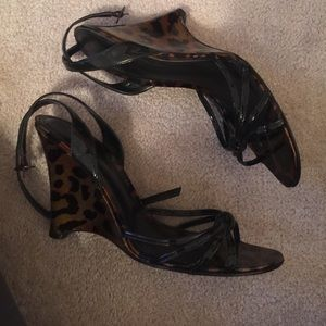 Aldo leopard wedge sandals size 38