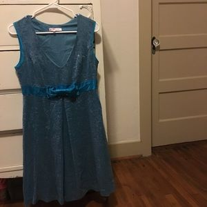 Betsey Johnson Blue Sequin Holiday Dress Bow 10