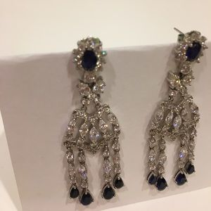 Jewelry - Dangle sapphire and crystal earrings