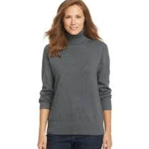 L.L. Bean Gray Cashmere Cotton Turtleneck Small