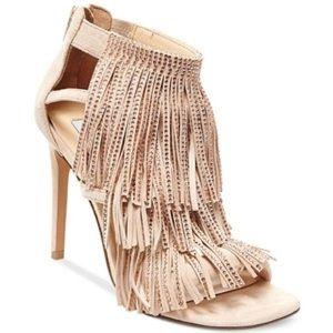 Steve Madden Rhinestone Fringe Nude Sandals