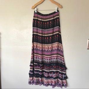 Boho ruffle maxi skirt