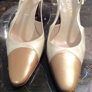 Chanel Gold Cream Slingback Pumps