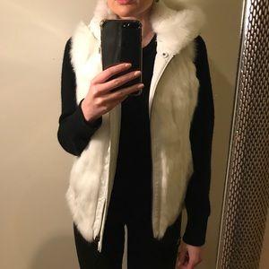 BCBG Maxazria genuine rabbit fur vest-reversible