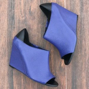 Reptile Embossed Midnight Wedge Bootie