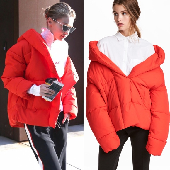 latest collection attractive style get new Gigi Hadid's H&M red padded jacket with hood NWT