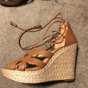 Mirabel leather lace up wedge