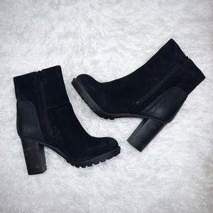 Luxury Rebel Leather & Suede Black Boots Wood Heel