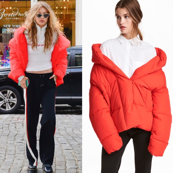 search for official highly coveted range of professional website Gigi Hadid H&M red padded puffer jacket with hood NWT