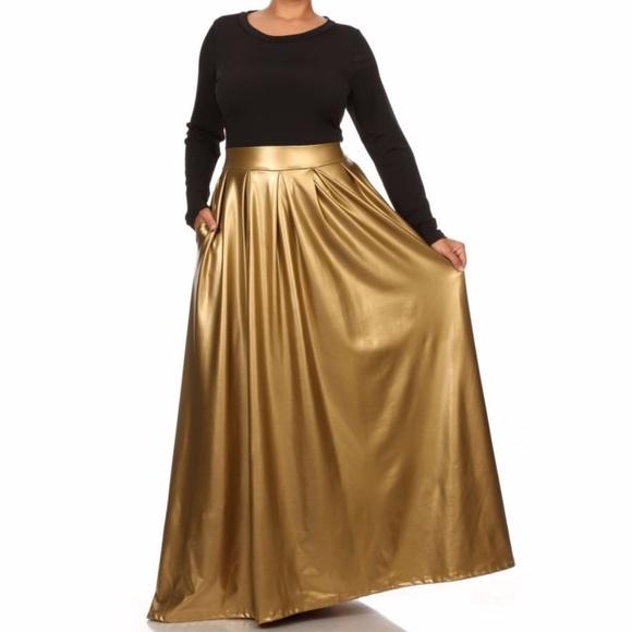 Plus Size Maxi Dress Black Gold Faux Leather Skirt