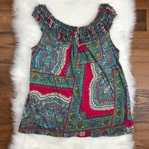 Anthropologie Meadow Rue Smocked Tank Paisley Top