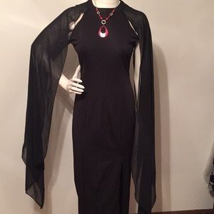Dresses & Skirts - Black Sheer Cape Sleeve Gown