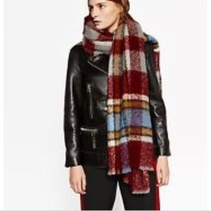 Zara Red checked blanket scarf