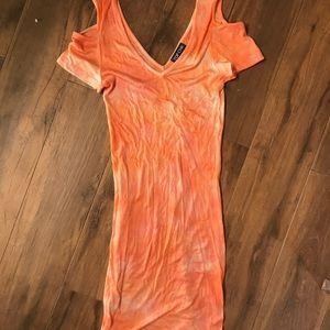 NWOT could shoulder Ribbed tie dye dress