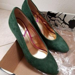 Seychelles Green Suede Heels