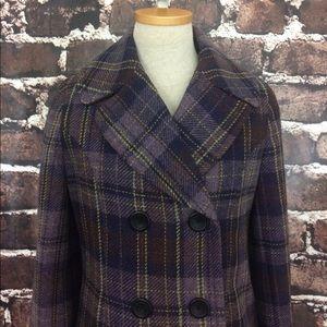 Merona purple plaid pea coat jacket pockets wool