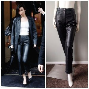 VTG 80s High Waist 5 Leather Flare Pants Jeans S