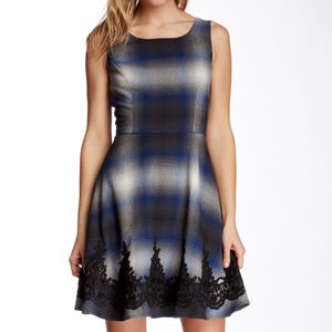 Jessica Simpson Grey and Blue Plaid Dress Size 2